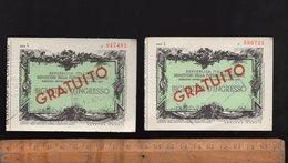 Ticket D'entrée Musée Italien 1965 Biglietto D'ingresso Gratuito Museo - Toegangskaarten