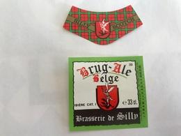 B4 Ancienne Étiquette BIÈRE BELGE  BRUG ALE BRASSERIE  BROUWERIJ DE SILLY - Etiquettes
