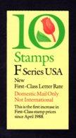 "ETATS-UNIS 1991 - Carnet Yvert C 1928b (I) - Scott #2520a - NEUF** MNH - Flore, Tulipe, Timbre Provisoire Lettre ""F"" - 1981-..."