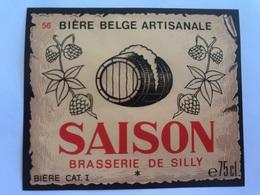 B4 Ancienne Étiquette BIÈRE BELGE SAISON BRASSERIE  BROUWERIJ DE SILLY - Etiquettes