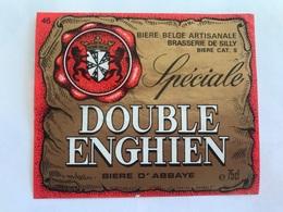B4 Ancienne Étiquette BIÈRE BELGE DOUBLE ENGHIEN BRASSERIE  BROUWERIJ DE SILLY - Etiquettes