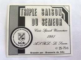 B4 Ancienne Étiquette BIÈRE BELGE TRIPLE SAISON DU SEMEUR UNIVERSITAIRE  BRASSERIE  BROUWERIJ DE SILLY - Etiquettes