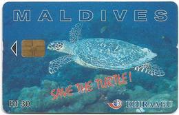 Maldives - Dhiraagu (chip) - Save The Turtle! - 227MLDGIA (CN At Top), Chip Siemens S30, 30MRf, Used - Maldiven