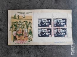 TIMBRE FRANCE YT 967 ENVELOPPE PREMIER JOUR FDC BLOC CROIX ROUGE BAPTEME LE NAIN 1953 TBE - 1950-1959