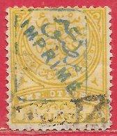 Turquie Journaux N°5 2P Jaune_olive & Gris (surcharge Bleue) 1891 O - Oblitérés