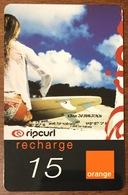 RÉUNION RIP CURL FEMME RECHARGE GSM ORANGE 15 EURO CARTE À CODE PHONECARD CARD PAS TÉLÉCARTE - Reunion