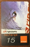 RÉUNION RIP CURL SURFEUR RECHARGE GSM ORANGE 15 EURO CARTE DE JEU PHONECARD CARD PAS TÉLÉCARTE - Reunion