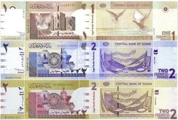 SUDAN Set 3v 1 2 2 Pounds 2006 - 2017 P 64 65 71 UNC - Sudan