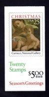 ETATS-UNIS 1989 - Carnet Yvert C 1878a - Scott #2427a - NEUF** MNH - Noël, La Vierge Et L'enfant - 1981-...