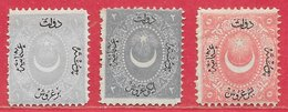 Turquie N°15 1P Gris-violet, N°16 2P Bleu-gris, N°17 5P Rose 1867 (*) - Ongebruikt