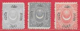 Turquie N°15 1P Gris-violet, N°16 2P Bleu-gris, N°17 5P Rose 1867 (*) - 1858-1921 Empire Ottoman