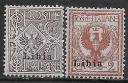 Italia Italy 1912 Colonie Libia Floreale 2val Sa N.1-2 Nuovi MH * - Libië