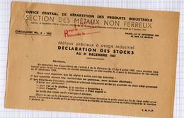 12 1943 Déclaration Des Stocks De Matières Précieuses Pour Office Central De Répartition Des Produits Industriels - Guerra De 1939-45