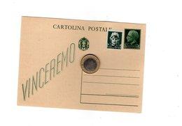 P0266 CARTOLINA POSTALE C. 15 VERDE + 15 IMPERIALE VINCEREMO - 1900-44 Vittorio Emanuele III