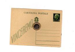 P0267 CARTOLINA POSTALE C. 15 VERDE VINCEREMO - 1900-44 Vittorio Emanuele III