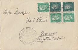 DR Brief Mif Minr.3x 411, 2x 412 SST Auslandsreise Kreuzer Karlsruhe 7.11.30 - Covers & Documents