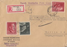 GG R-Brief Mif Minr.49, 2x 78 Warschau 18.4.42 Gel. Nach Berlin - Occupation 1938-45