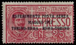 ITALY KINGDOM ITALIA REGNO 1917 25 C. POSTA AEREA (Sass. 5) LINGUELLATO MLH * - 1900-44 Victor Emmanuel III