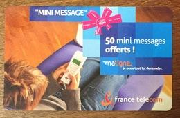 50 MINI MESSAGE OFFERT MA LIGNE FRANCE TELECOM CARTE TÉLÉPHONIQUE À CODE PHONECARD TICKET TÉLÉPHONE - FT