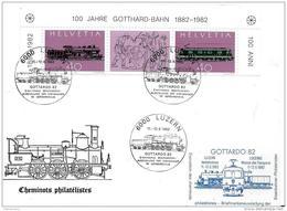 """61 - 50 - Enveloppe Suisse Avec Oblit Spéciale """"Gottardo 82 Luzern"""" + Vignette - Trenes"""
