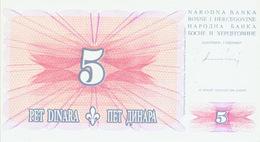 Billet Bosnie 5 Dinar 1994 - Bosnië En Herzegovina