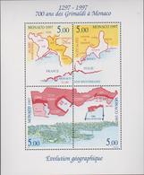 MONACO 1 Bloc Feuillet  Neuf N° YT BF76 -1997 Evolution Geographique De La Principaute - Blocks & Kleinbögen