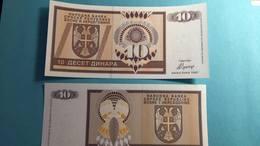 Billet  Bosnie Herzégovine 10 Dinars - 1992 - Bosnie-Herzegovine