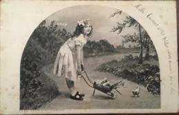 Cpa, Jeune Fille, Fillette, Enfant, Poussant Avec Une Brouette,éd B.Sirven,écrite En 1906 - Scenes & Landscapes