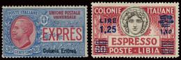 ITALY ITALIA ERITREA 1907-37 ESPRESSI 30 C. E 1,25 LIRE (Sass. 2, 11) NUOVI SENZA GOMMA! - Eritrea
