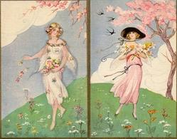 Illustrateur Chiostri X 2, Femme Fleurs (ballerini & Fratini, 236) - Chiostri, Carlo