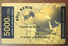 BÉNIN BELL BENIN CARTE PRÉPAYÉE 5000 FCFA 31/12/2006 PHONECARD PAS TELECARTE CARTE TÉLÉPHONIQUE À CODE - Bénin