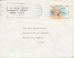 Lebanon Cover Sent To USA 5-11-1968 Single Franked FISH - Lebanon
