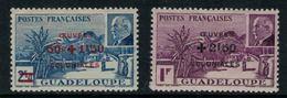 France // Guadeloupe // 1944 // Vue De La Grande Souffrière Avec Surcharge Timbre MNH** No.173-174 Y&T - Guadeloupe (1884-1947)
