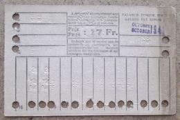 Carte De 20 Voyages En 2e Classe Sur Le Réseau Urbain Des Tramways Bruxellois 17 Fr Octobre 1942 - Tramways