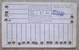 Carte De 20 Voyages En 2e Classe Sur Le Réseau Urbain Des Tramways Bruxellois 17 Fr Juin 1944 - Tramways