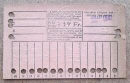 Carte De 20 Voyages En 2e Classe Sur Le Réseau Urbain Des Tramways Bruxellois 17 Fr Juillet 1941 - Tramways