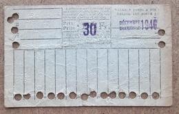 Carte De 20 Voyages En 2e Classe Sur Le Réseau Urbain Des Tramways Bruxellois 30 Fr Décembre 1946 - Tramways