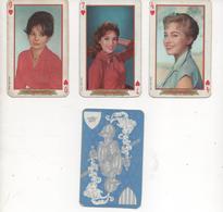Cartes A Jouer, Playing Cars, Vedettes Annees 1960   Danick Patisson, Pascale Audret, Pascale Petit  Serie De Coeur  3 C - Toy Memorabilia