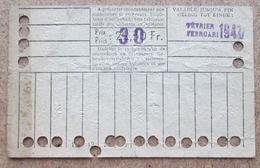 Carte De 20 Voyages En 2e Classe Sur Le Réseau Urbain Des Tramways Bruxellois 30 Fr Février 1947 - Tramways