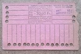 Carte De 20 Voyages En 2e Classe Sur Le Réseau Urbain Des Tramways Bruxellois 30 Fr Aout 1947 - Tramways