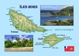 Wallis And Futuna Hoorne Islands Map New Postcard Iles Horn - Wallis And Futuna