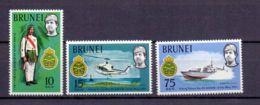 1971 Brunei 10 Years Of Brunei-Malaien-Regiment MNH** MiNr. 156 - 158 Soldier, Helicopter, Speed Boat, Military - Brunei (1984-...)