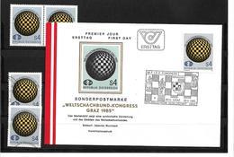 6049z: Österreich 1985, Weltschachbund- Kongress In Graz, Beleg Und Gesamt 4 Briefmarken Postfrisch/ Gestempelt - Schach