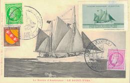 """J84 - MARCOPHILIE - Carte Postale - Navire D'Assistance """"Le Saint-Yves"""" - 1947 - Société Des Oeuvres De Mer - Cachets Commémoratifs"""
