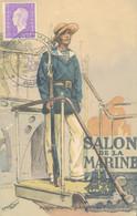 J84 - MARCOPHILIE - Carte Postale - Salon De La Marine - 14 Juin 1945 - Paris - Matasellos Conmemorativos