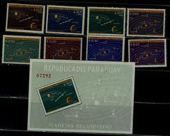 PARAGUAY 1962 SOLAR SYSTEM MI No 1134-41+BLOCK 32 MNH VF!! - Espacio