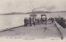 VIL-  ROSCANVEL   EN FINISTERE  DEPART DU VAPEUR ET DE LA CANONNIERE DE LA CALE DE QUELERN  CPA  CIRCULEE - France