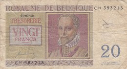 Belgique - Billet De 20 Francs - Lassus-Monte - 1er Juillet 1950 - [ 2] 1831-... : Reino De Bélgica