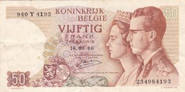 Belgique - Billet De 50 Francs - Beaudoin Ier & Fabiola - 16 Mai 1966 - [ 2] 1831-... : Reino De Bélgica