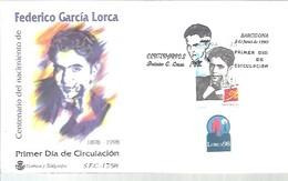 FDC 1998  MATASELLOS  BARCELONA F.GARCIA LORCA   SELLO CON VIÑETA - FDC